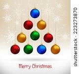 ten multicolored christmas... | Shutterstock .eps vector #223273870