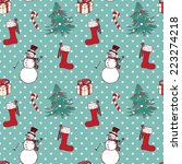 seamless christmas  pattern in... | Shutterstock .eps vector #223274218