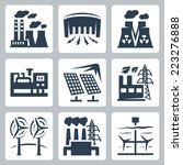 Power Plants Vector Icons Set ...