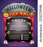 halloween party poster. in the... | Shutterstock .eps vector #223279948