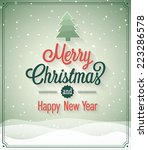 vintage christmas greeting card.... | Shutterstock .eps vector #223286578