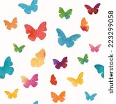 seamless watercolor butterflies ... | Shutterstock .eps vector #223299058
