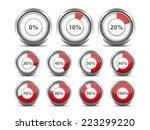 set of red round progress... | Shutterstock .eps vector #223299220
