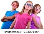 team of happy children wearing... | Shutterstock . vector #223301554