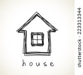 vector house icon. doodle hand... | Shutterstock .eps vector #223313344