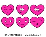 set of cartoon heart emotions.... | Shutterstock .eps vector #223321174