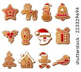 gingerbread christmas cookies... | Shutterstock .eps vector #223329694