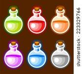 round cartoon bottles liquids
