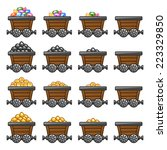 mine cart set gold sone coins... | Shutterstock .eps vector #223329850