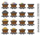 mine cart set gold sone coins...
