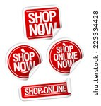 shop now  online store stickers ... | Shutterstock .eps vector #223334428