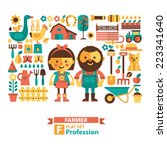 set of icons and characters... | Shutterstock .eps vector #223341640
