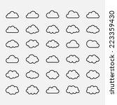 big vector set black cloud...