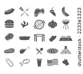 bbq and fast food web icons set ... | Shutterstock .eps vector #223361323