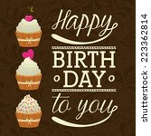 birthday design over brown... | Shutterstock .eps vector #223362814