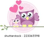 Cute Baby Owl And Mom Sitting...