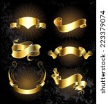 set of gold  shiny  ribbons on...   Shutterstock .eps vector #223379074