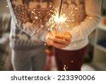 couple holding bengal light   Shutterstock . vector #223390006