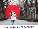 Woman With Red Umbrella Walkin...