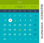 calendar august 2015 vector... | Shutterstock .eps vector #223402558