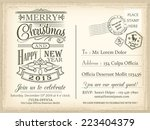 vintage christmas and happy new ... | Shutterstock .eps vector #223404379