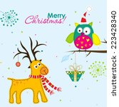 template christmas greeting... | Shutterstock .eps vector #223428340