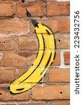 Banana Graffiti On A Brick Wall ...