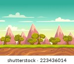 seamless cartoon nature... | Shutterstock .eps vector #223436014