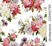 seamless floral roses with... | Shutterstock . vector #223441720