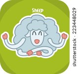 sheep in the lotus position... | Shutterstock .eps vector #223448029