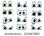 set of cartoon eyes with blue... | Shutterstock .eps vector #223467883