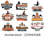 colorful set of happy halloween ... | Shutterstock .eps vector #223469368