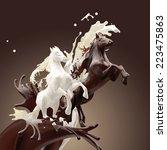 creamy milky and coffee liquid...   Shutterstock . vector #223475863