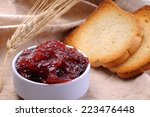crisp toasts with strawberry... | Shutterstock . vector #223476448