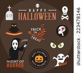 set of halloween party... | Shutterstock .eps vector #223478146