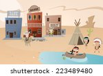 cartoon western town and indian ... | Shutterstock .eps vector #223489480