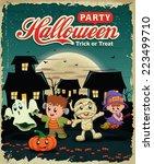 vintage halloween poster design ...   Shutterstock .eps vector #223499710
