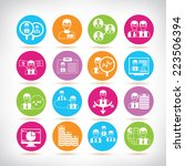 office icons  colorful circle... | Shutterstock .eps vector #223506394