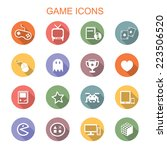 game long shadow icons  flat...