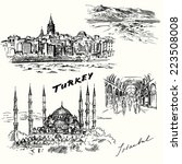 turkey  istanbul   hand drawn... | Shutterstock .eps vector #223508008