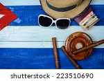 cuban cigars and ash tray on... | Shutterstock . vector #223510690