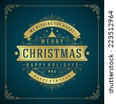 christmas retro typography and... | Shutterstock .eps vector #223512964