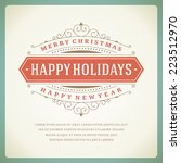 christmas retro typography and... | Shutterstock .eps vector #223512970