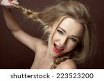portrait of funny girl with... | Shutterstock . vector #223523200