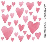 watercolor pink heart on a... | Shutterstock .eps vector #223536799