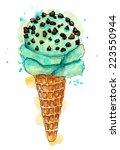 watercolor blue mint chocolate... | Shutterstock . vector #223550944