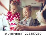 mother with her 5 years old... | Shutterstock . vector #223557280