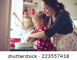 mother with her 5 years old... | Shutterstock . vector #223557418