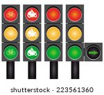 four road traffic lights to go... | Shutterstock .eps vector #223561360