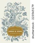 vertical wedding invitation.... | Shutterstock .eps vector #223565179